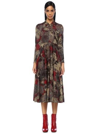 Beymen Club Yakası Fermuarlı Çiçekli Uzun Kol Midi Elbise Altın